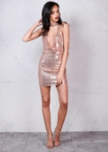 Sequin Draped Halterneck With Choker Bodycon Mini Dress Metallic Nude