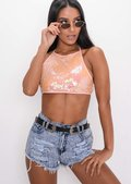 Sequin Halterneck Backless Crop Top Pink