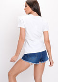 Sequin Pineapple Embellished Frill T-Shirt Top White