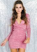 Long Sleeve Sequin Wrap Front Ruched Mini Dress Pink