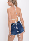 Sequin Triangle Bralet Silver