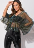 Organza Batwing Sleeves Shirred Waist V Neck Top Shiny Blue