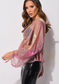 Organza Batwing Sleeves Shirred Waist V Neck Top Shiny Pink