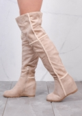 Shepherd Fur Wedge Over The Knee Foldable Long Boots Suede Beige
