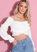 Shirred Wrap Over Ruffle Long Sleeve Crop Top White