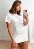 Short Sleeve Cinched Waist T Shirt Mini Dress White