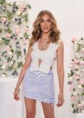Side Ruched Animal Print Drawstring Details Mini Skirt Purple