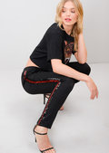 Red Side Stripe Sequin Tracksuit Trousers Black