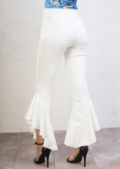 Skinny Cropped Asymmetrical Frill Cigarette Trousers White
