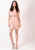 Hallie Nude Leather Insert Suede Co-ord
