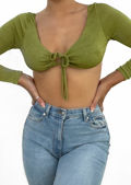 Slinky Ruched Front Tie Drawstring Detail Long Sleeve Crop Top Green
