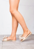 Slippers Satin Flower Flat Sliders Beige