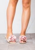 Slippers Satin Flower Flat Sliders Pink