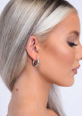 Small Chunky Hoop Earrings Silver