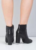 Snakeskin Chunky Heel Chelsea Ankle Boots Black