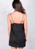 Spaghetti Strap Striped Cami Dress Black