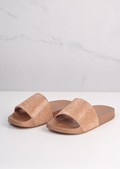 Sparkle Diamante Flat Sliders Rose Gold