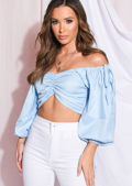 Square Neck Drawstring Ruched Crop Top Light Blue