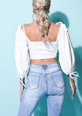 Square Neck Drawstring Puff Sleeve Ruched Crop Top White