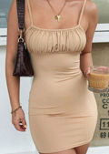 Square Neck Gathered Sleeveless Bodycon Mini Dress Beige