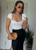Square Neckline Ribbed Knit Short Sleeve Top White