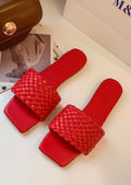 Square Toe Pu Braided Faux Leather Sliders Red