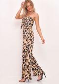 Strapless Tie Detail Wide Leg Jumpsuit Leopard Print Multi