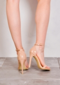 Strapped Barely There Heeled Sandals Patent Nude