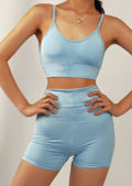 Strappy Bralet Crop Top Cycling Shorts Co Ord Loungewear Set Blue