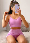 Strappy Bralet Crop Top Cycling Shorts Co Ord Loungewear Set Purple