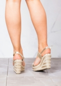 Strappy Espadrilles Platform Heeled Wedge Sandals Gold