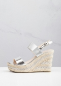 Strappy Espadrilles Platform Heeled Wedge Sandals Silver