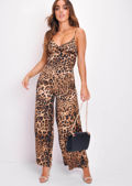 Strappy Leopard Print Wide Leg Wrap Top Jumpsuit Multi