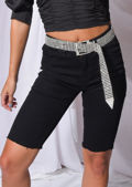 Stretch Frayed Hem Denim Cycling Shorts Black