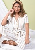 Tan Stripe Button Front Wide Leg Jumpsuit White