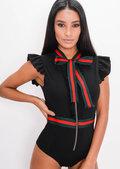 Stripe Frill Bodysuit Black