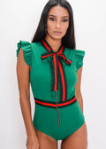 Stripe Frill Bodysuit Green