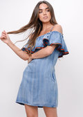 Stripe Frill Denim Dress Blue