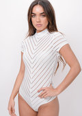 Stripe High Neck Bodysuit White