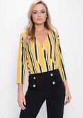 Stripe Wrap Front Plunge Bodysuit Yellow