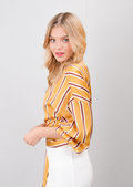 Stripe Wrap Over Tie Waist Blouse Mustard Yellow