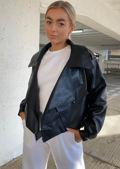Oversized Metal Ring Strap PU Crop Biker Jacket Black