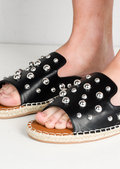 Studded Espadrille Sliders Black