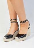 Studded Espadrille Wedge Sandals Black
