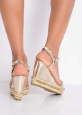 Studded Espadrilles Heeled Platform Braided Wedge Sandals Gold