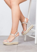 Studded Espadrilles Platform Heeled Braided Wedge Sandals Silver