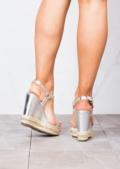 Studded Espadrilles Platform Heeled Braided Wedge Sandals Silver