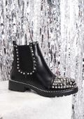 Studded Faux Leather Chelsea Ankle Boots Black