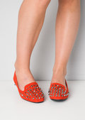 Studded Faux Suede Slip On Flats Red