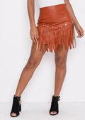 Studded Fringe Leather Look Mini Skirt Tan Brown